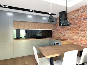 Gdynia Laguna - Mała otwarta czarna kuchnia w kształcie litery l w aneksie z oknem, styl industrialny - zdjęcie od D ' INTERIOR. Studio Wnętrz