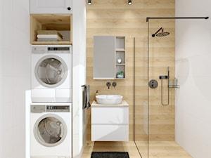biała ŁAZIENKA - Mała biała łazienka z oknem, styl nowoczesny - zdjęcie od GRUSZKA Wnętrza