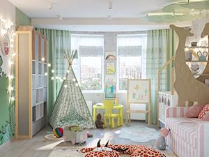 Pokój dziecka, w dwóch wersjach. - Średni szary zielony pokój dziecka dla dziewczynki dla ucznia dla niemowlaka dla malucha, styl nowoczesny - zdjęcie od SHAFIEVA DESIGN