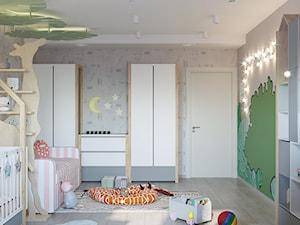 Pokój dziecka, w dwóch wersjach. - Średni szary pokój dziecka dla chłopca dla dziewczynki dla rodzeństwa dla niemowlaka dla malucha, styl nowoczesny - zdjęcie od SHAFIEVA DESIGN