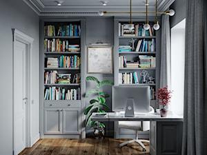 Projekt 101m2 - Małe czarne biuro pracownia domowe w pokoju, styl eklektyczny - zdjęcie od SHAFIEVA DESIGN