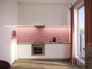 Projekt wzorcowy - Średnia otwarta biała różowa kuchnia w kształcie litery l w aneksie z oknem, styl glamour - zdjęcie od Holi Home