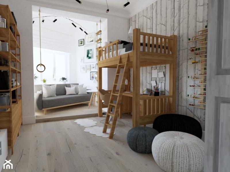 Projekt pokoju dla chłopca - Kamienica Świnoujście - Średni biały szary pokój dziecka dla chłopca dla dziewczynki dla ucznia dla nastolatka, styl skandynawski - zdjęcie od MVision Studio Projektowe - Homebook