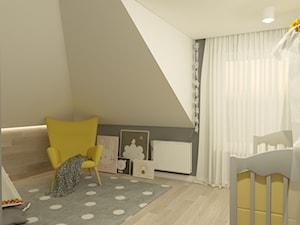Projekt pokoi w budynku jednorodzinnym - Wrocław - Średni biały szary pokój dziecka dla chłopca dla dziewczynki dla niemowlaka, styl nowoczesny - zdjęcie od MVision Studio Projektowe