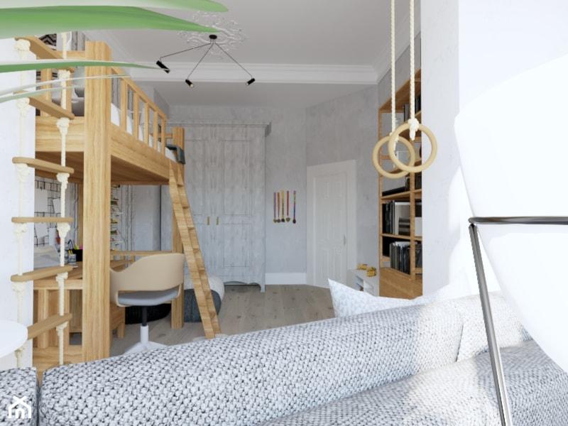 Projekt pokoju dla chłopca - Kamienica Świnoujście - Duży szary pokój dziecka dla chłopca dla dziewczynki dla ucznia dla nastolatka, styl skandynawski - zdjęcie od MVision Studio Projektowe - Homebook