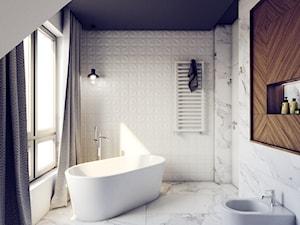Wnętrze Gdynia Wiczlino - Duża biała łazienka w bloku w domu jednorodzinnym z oknem, styl eklektyczny - zdjęcie od Archibion Pracownia Projektowa Krzysztof Czerwiński