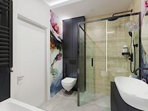 Projekt wnętrza łazienki z akcentem kwiatowym