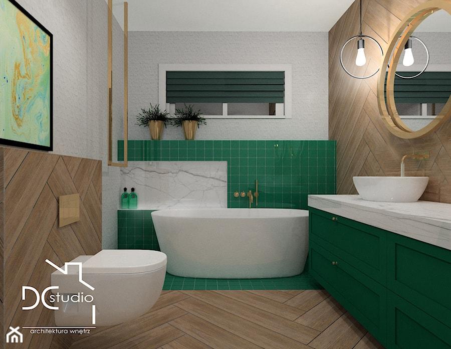 Nowoczesna łazienka z kolorystycznym akcentem - Średnia szara zielona łazienka w bloku w domu jednorodzinnym bez okna, styl nowoczesny - zdjęcie od Design Concept Studio Architektura Wnętrz