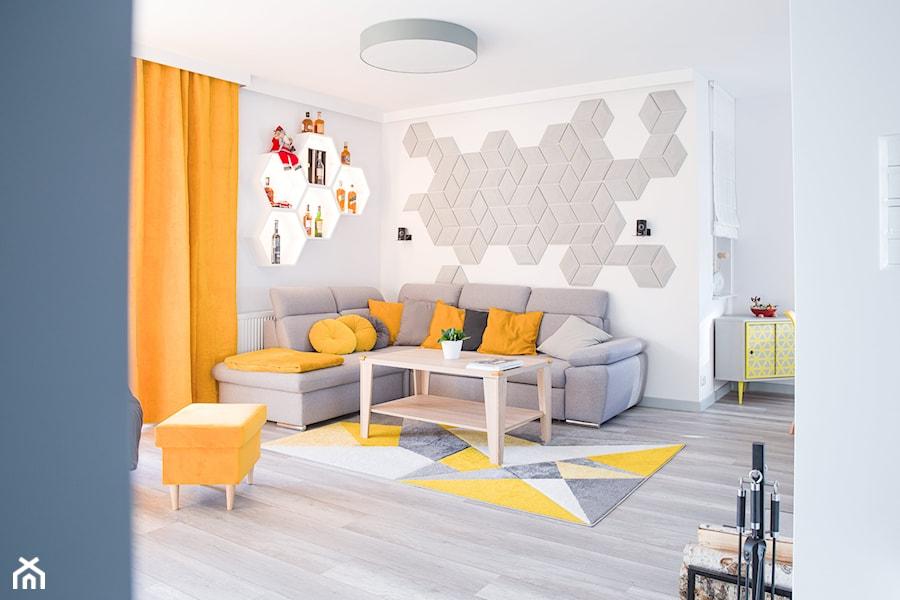 Żółty i szary w salonie - zdjęcie od dekoton