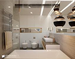 RIFLESSO - Średnia biała beżowa łazienka bez okna, styl minimalistyczny - zdjęcie od Ludwinowska Studio Architektury
