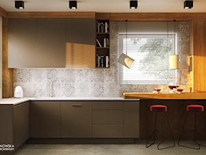 GEISHA - Średnia biała beżowa kuchnia w kształcie litery l w aneksie z oknem, styl nowoczesny - zdjęcie od Ludwinowska Studio Architektury