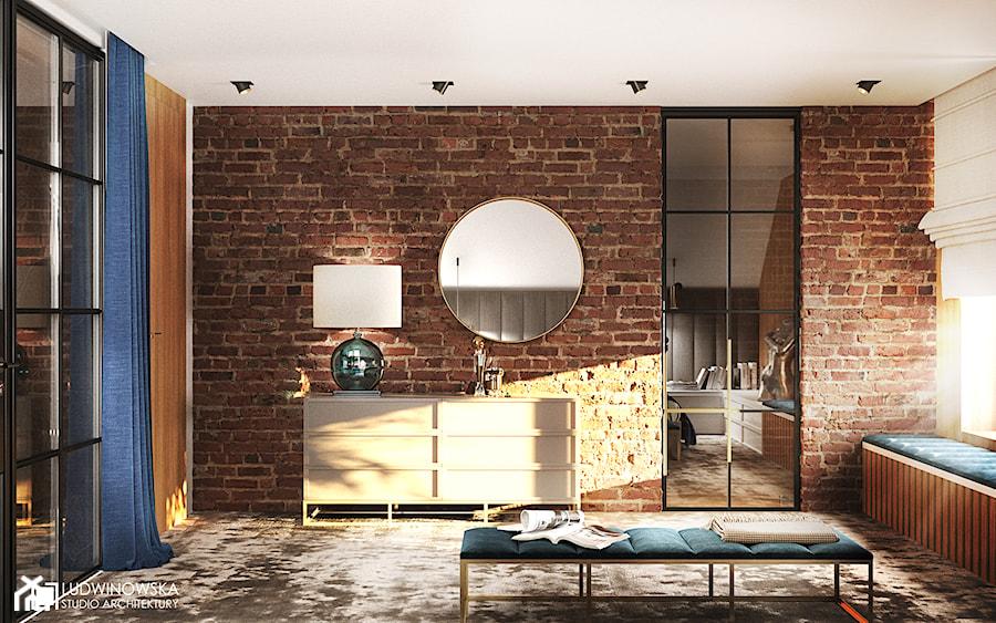 Aranżacje wnętrz - Sypialnia: sypialnia, cegła, drzwi szklane, szyby, szprosy, czarne szprosy, okrągłe lustro, siedzisko pod oknem, sypialnia z łazienką, sypialnia połączona z łazienką, grzejniki pod oknami, zabudowa grzejników, - Ludwinowska Studio Architektury. Przeglądaj, dodawaj i zapisuj najlepsze zdjęcia, pomysły i inspiracje designerskie. W bazie mamy już prawie milion fotografii!