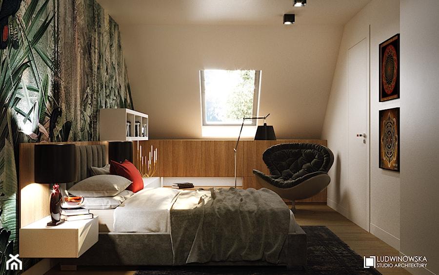 Aranżacje wnętrz - Sypialnia: GEISHA - Średnia biała zielona sypialnia małżeńska na poddaszu, styl nowoczesny - Ludwinowska Studio Architektury. Przeglądaj, dodawaj i zapisuj najlepsze zdjęcia, pomysły i inspiracje designerskie. W bazie mamy już prawie milion fotografii!