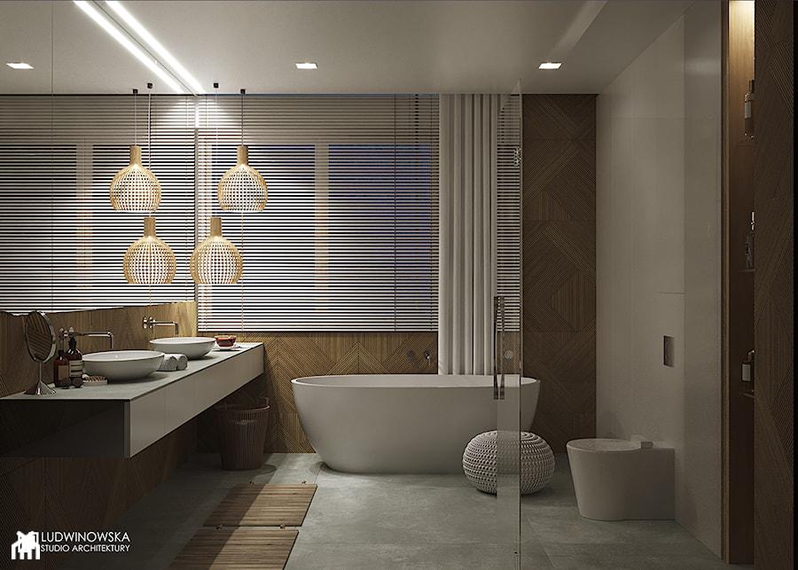 FOREST HOME - Średnia łazienka w bloku w domu jednorodzinnym z oknem, styl skandynawski - zdjęcie od Ludwinowska Studio Architektury