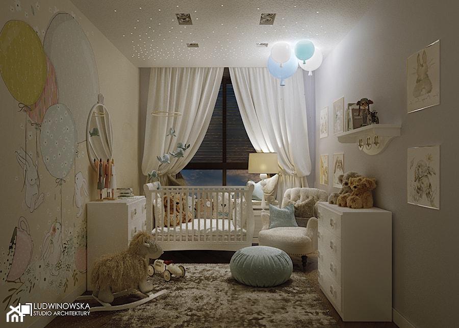Aranżacje wnętrz - Pokój dziecka: pokój dziecka, małego, przytulny, ciepły, białe meble, chłopiec, dziewczynka, balony, misie - Ludwinowska Studio Architektury. Przeglądaj, dodawaj i zapisuj najlepsze zdjęcia, pomysły i inspiracje designerskie. W bazie mamy już prawie milion fotografii!