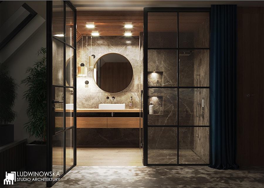 łazienka łazienka Połączona Z Sypialnią Drewno Teak