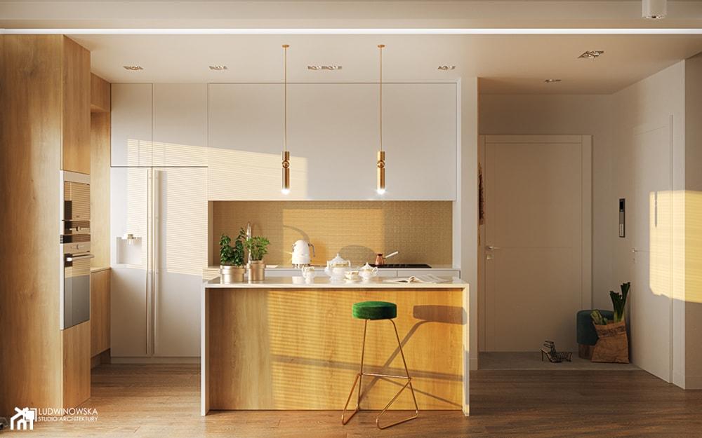 FLAMINGOS - Średnia biała beżowa kuchnia w kształcie litery l w aneksie z wyspą z oknem, styl nowoczesny - zdjęcie od Ludwinowska Studio Architektury - Homebook