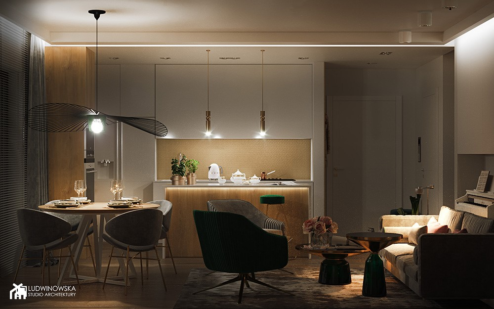 FLAMINGOS - Mała beżowa kuchnia w kształcie litery l w aneksie z wyspą z oknem, styl nowoczesny - zdjęcie od Ludwinowska Studio Architektury - Homebook