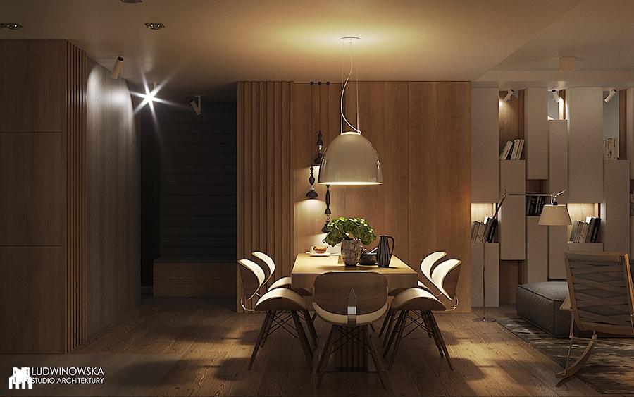 FOREST HOME - Duża beżowa jadalnia w salonie, styl skandynawski - zdjęcie od Ludwinowska Studio Architektury