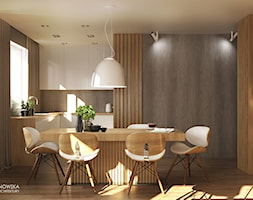 FOREST HOME - Mała otwarta wąska biała kuchnia w kształcie litery l w aneksie z oknem, styl skandynawski - zdjęcie od Ludwinowska Studio Architektury