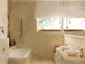 NOCTURNE - Mała beżowa łazienka na poddaszu w bloku w domu jednorodzinnym z oknem, styl eklektyczny - zdjęcie od Ludwinowska Studio Architektury