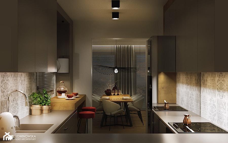 GEISHA - Średnia otwarta wąska kuchnia w kształcie litery u z oknem, styl skandynawski - zdjęcie od Ludwinowska Studio Architektury