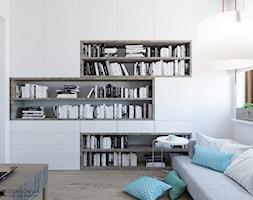 TURQUISE - Duże białe biuro kącik do pracy w pokoju, styl minimalistyczny - zdjęcie od Ludwinowska Studio Architektury