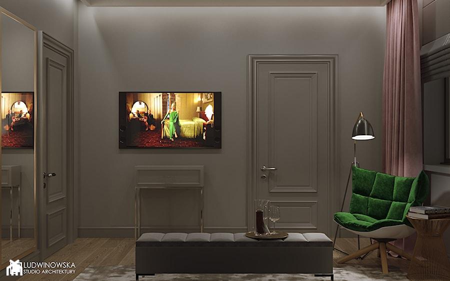NOCTURNE - Średnia szara sypialnia dla gości małżeńska, styl eklektyczny - zdjęcie od Ludwinowska Studio Architektury