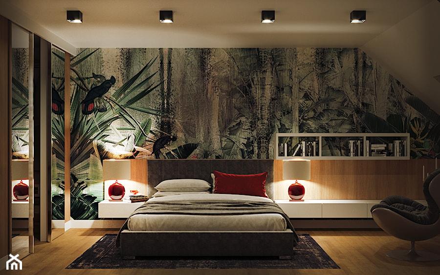 GEISHA - Duża biała zielona sypialnia małżeńska na poddaszu, styl nowoczesny - zdjęcie od Ludwinowska Studio Architektury