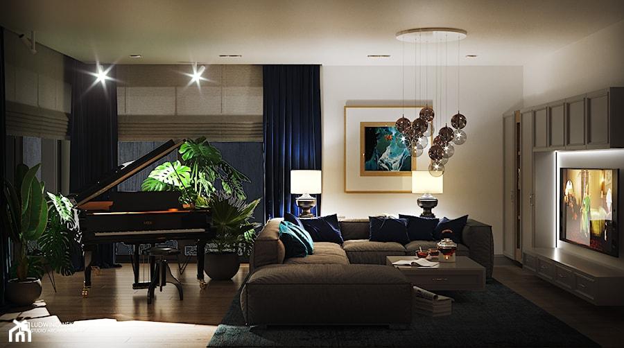 NOCTURNE - Duży biały salon z tarasem / balkonem, styl eklektyczny - zdjęcie od Ludwinowska Studio Architektury
