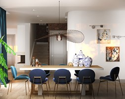 NOCTURNE - Duża otwarta biała jadalnia jako osobne pomieszczenie, styl eklektyczny - zdjęcie od Ludwinowska Studio Architektury