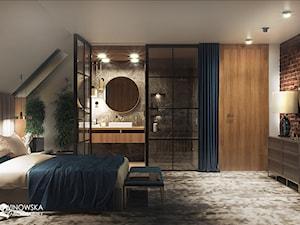 sypialnia, cegła, drzwi szklane, szyby, szprosy, czarne szprosy, okrągłe lustro, siedzisko pod oknem, sypialnia z łazienką, sypialnia połączona z łazienką, grzejniki pod oknami, zabudowa grzejników, - zdjęcie od Ludwinowska Studio Architektury