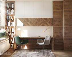 gabinet, orzech amerykański, przytulny, elegancki - zdjęcie od Ludwinowska Studio Architektury