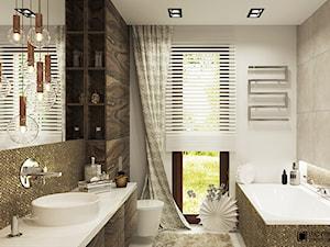 CHARME&CHIC - Średnia biała beżowa łazienka w domu jednorodzinnym z oknem, styl nowoczesny - zdjęcie od Ludwinowska Studio Architektury