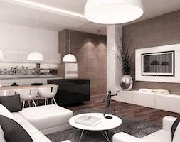 Salon+z+kuchni%C4%85%2C+orzech+%2F+biel+-+zdj%C4%99cie+od+Ludwinowska+Studio+Architektury