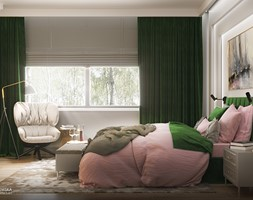 NOCTURNE - Duża szara sypialnia małżeńska, styl eklektyczny - zdjęcie od Ludwinowska Studio Architektury - Homebook