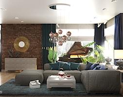 NOCTURNE - Duży biały brązowy salon z jadalnią, styl eklektyczny - zdjęcie od Ludwinowska Studio Architektury