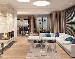 Elegancki salon z kominkiem - zdjęcie od Ludwinowska Studio Architektury