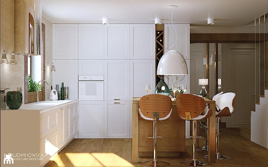 kuchnia, vintage, nowoczesna, klasyczna, drewno, przytulna, kamień, artemide, nur, hokery, drewniane, krzesła barowe, kominek, dwustronny, vis a vis, schody, barierka, cięgna, stalowe, półka na wino - zdjęcie od Ludwinowska Studio Architektury