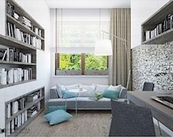 TURQUISE - Średnie czarne białe biuro pracownia w pokoju, styl minimalistyczny - zdjęcie od Ludwinowska Studio Architektury