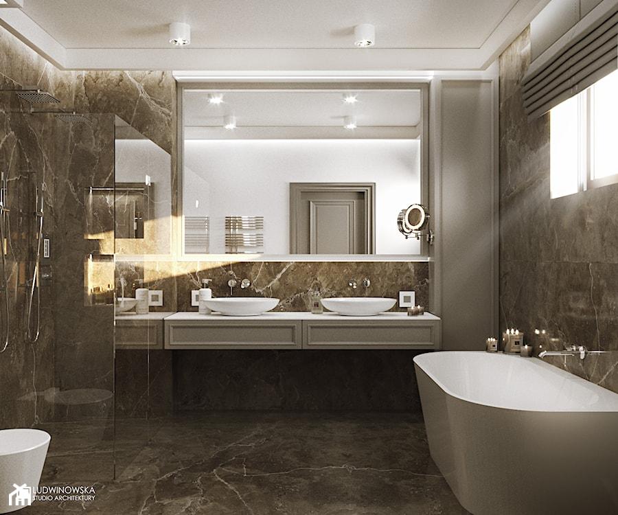 NOCTURNE - Średnia szara łazienka w bloku w domu jednorodzinnym z oknem, styl eklektyczny - zdjęcie od Ludwinowska Studio Architektury