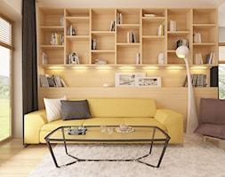 Z200 - Duży biały salon z bibiloteczką z jadalnią, styl nowoczesny - zdjęcie od Z500 - Homebook