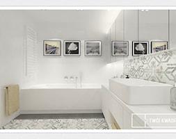 mieszkanie 70m2 Warszawa - Średnia biała łazienka w bloku bez okna, styl skandynawski - zdjęcie od Twój Kwadrat - Homebook