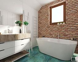dom pod Warszawą - Średnia łazienka na poddaszu w domu jednorodzinnym z oknem, styl rustykalny - zdjęcie od Twój Kwadrat