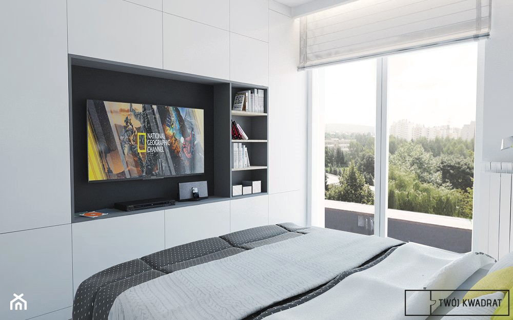 mieszkanie_Warszawa Praga - Średnia biała szara sypialnia małżeńska z balkonem / tarasem, styl nowoczesny - zdjęcie od Twój Kwadrat - Homebook
