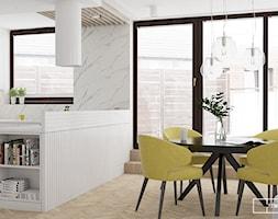 apartament na Wilanowie_strefa dzienna i sypialnie - Średnia otwarta biała jadalnia w salonie, styl nowoczesny - zdjęcie od Twój Kwadrat
