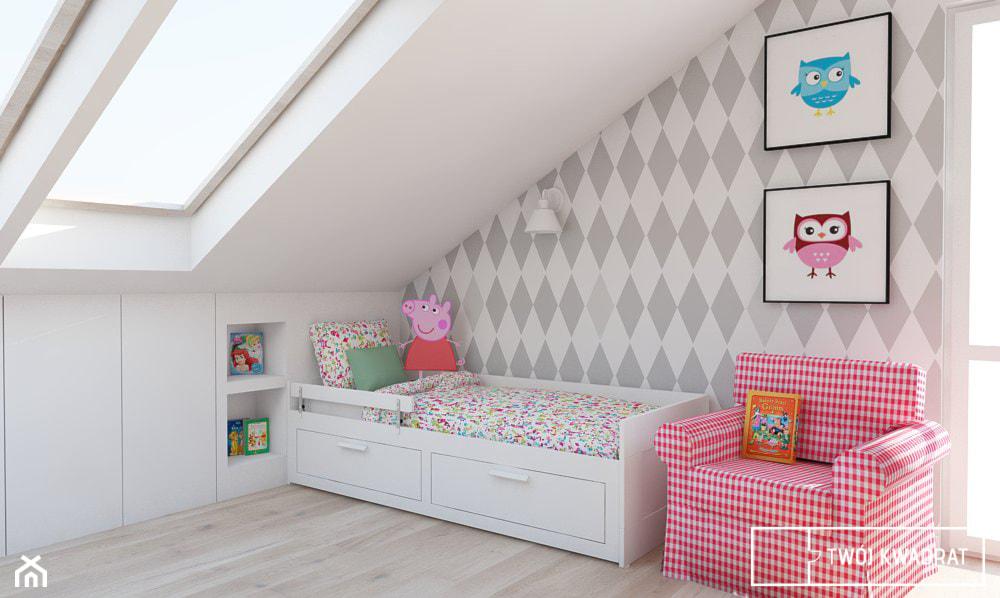 Mieszkanie w Warszawie 100m2 - Średni biały szary pokój dziecka dla dziewczynki dla malucha, styl klasyczny - zdjęcie od Twój Kwadrat - Homebook