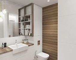 mieszkanie_Warszawa Praga - Średnia biała brązowa łazienka w bloku bez okna, styl nowoczesny - zdjęcie od Twój Kwadrat