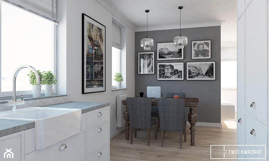 Aranżacje wnętrz - Jadalnia: Mieszkanie w Warszawie 100m2 - Mała otwarta biała szara jadalnia w kuchni, styl eklektyczny - Twój Kwadrat. Przeglądaj, dodawaj i zapisuj najlepsze zdjęcia, pomysły i inspiracje designerskie. W bazie mamy już prawie milion fotografii!