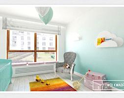 apartament 145m2 Warszawa - Średni biały niebieski pokój dziecka dla chłopca dla dziewczynki dla niemowlaka dla malucha, styl klasyczny - zdjęcie od Twój Kwadrat